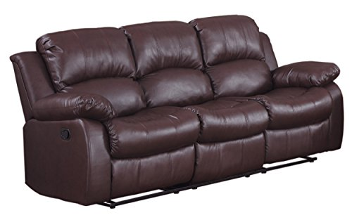 "Homelegance Resonance 83"" Bonded Leather Double Reclining Sofa, Brown"