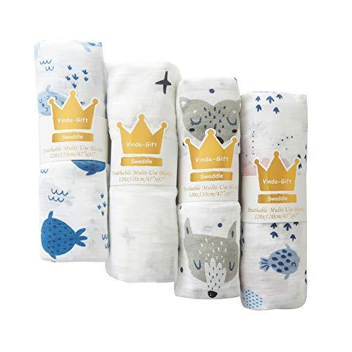 Baby Muslin Swaddle Blanket Super Soft Silky Bamboo Cotton Blend,Gender Newborn Nursery Receiving Blanket Set, Mantas para Bebes Recien Nacidos, Expecting Mom Gift, 0-3 Months Boy Essential