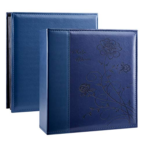 Artmag Photo Picutre Album 4x6 600 Photos, Extra Large Capacity Leather Cover Wedding Family Photo Albums Holds 600 Horizontal and Vertical 4x6 Photos with White Pages(Blue)
