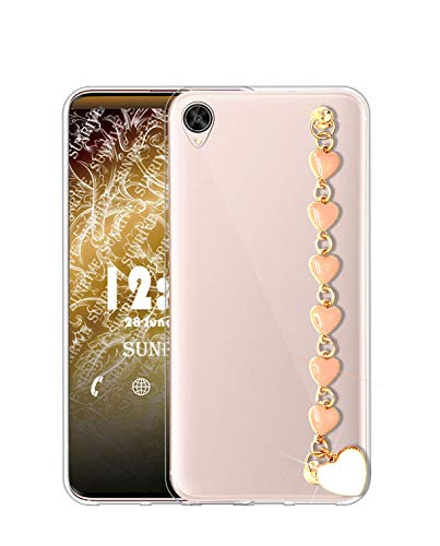 Sunrive Kompatibel mit Oppo R9 Plus Hülle Silikon,Handykette Glitzer Diamant Strass Handyhülle Transparent Schutzhülle Etui Kette Hülle Backcover Handschlaufe(Rosa Herz) MEHRWEG