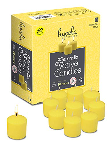 Hyoola Citronella Votive Candles - 10 Hour Burn Time - 50 Pack, Ideal Bug Repellent Candles, European Made