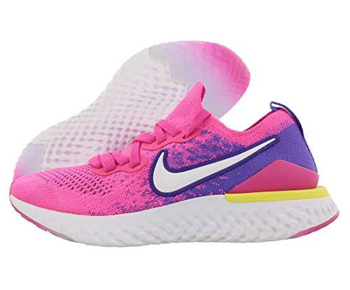 Nike Womens Epic React Flyknit 2 Running Shoes (8, Fuchsia/White)