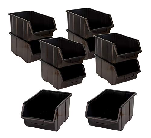 BigDean Stapelboxen Set 10 Stück schwarz groß 220x350x165mm - Kunststoff Sichtlagerkasten stapelbar - perfekt für Ordnung in Werkstatt & Garage