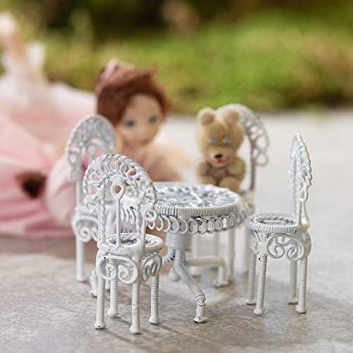 factorydirectcraft 40% OFF Cheap Sale White Iron latest Patio Set Doll House Miniature -