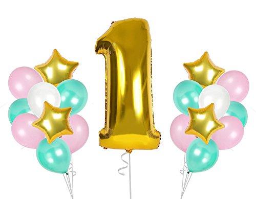 Juego de globos de 38 piezas para bebés de primer cumpleaños, decoración para fiestas de cumpleaños, globos de látex de aire, juegos para baby shower, fotos, suministros favorables