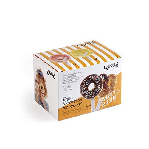 Lékué 8420460014379 Kit 4 Moldes Helado Donut y Pretzel, Silicona, Negro