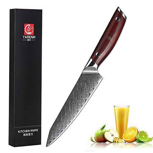 YARENH Cuchillo Damasco 12 cm - Cuchillos de Cocina Profesionales de Acero de Japoneses Damasco & Mango de Madera Dalbergia,Cuchillo Cocina Profesional KTF-Serie