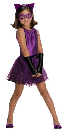 DC Super Villain Collection Catwoman Girl's Costume with Tutu Dress, Small