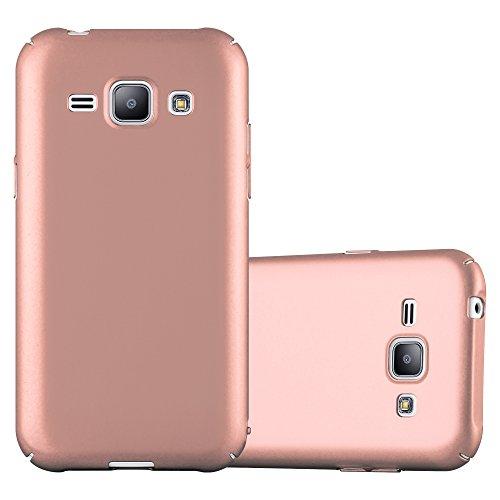 Cadorabo Funda para Samsung Galaxy J1 2015 en Metal Oro Rosa - Cubierta Protección de Plástico Duro Super Delgada e Inflexible con Antichoque - Case Cover Carcasa Protectora Ligera