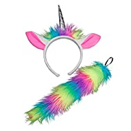 Unisex Rainbow Unicorn Animal Ears & Tail Includes:Ears with Horn on Headband and Tail Only One Size Fits Most Wicked Costumes Perfect finishing touch to your costume!