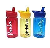 Regalazo.shop Botella Libre de BPA Personalizada con Nombre. 3 Colores: roja, Azul o Amari...