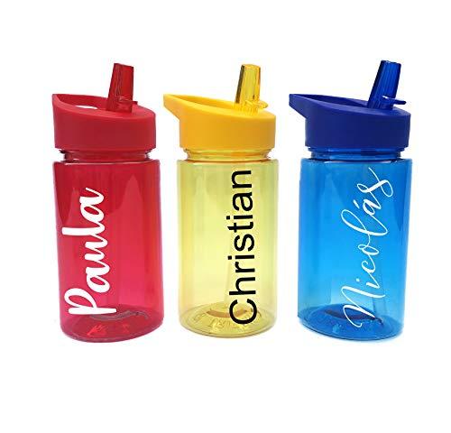 Regalazo.shop Botella Libre de BPA Personalizada con Nombre. 3 Colores: roja, Azul o Amarilla.