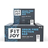 FitJoy Protein Bars, Cookies & Cream, Gluten Free, Grain Free, Low Carb, 2.11 Ounce, 12 Pack