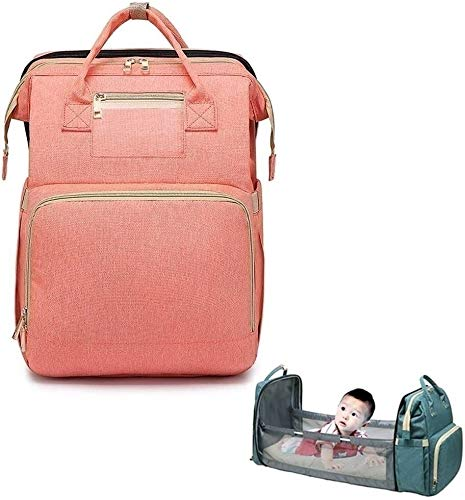 SADWF 3-1 Travel Bassinet Portable Crib Diaper Bag Backpack Foldable Baby Bed Diaper Changing Station Multi-Function Large-Capacity Mommy Bag with Mattress for 0-12 Months Baby (Color : Pink)