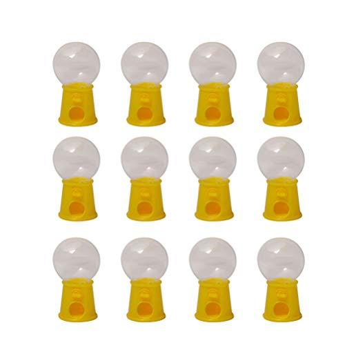 TOYANDONA Máquinas de Chicles en Miniatura Dispensador de Chicle Pequeño Pastel de Cumpleaños para Niños Novedad Fiesta de Cumpleaños Favor para Gumballs Dulces de Chocolate 12 Piezas (Amarillo)