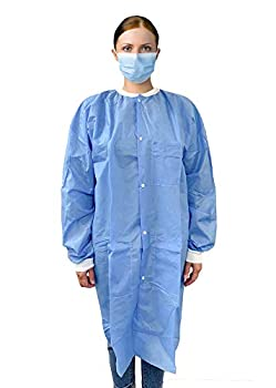Industrial Lab Coats Pack of 10 Fluid Resistant SMS Coats Blue XX-Large Unisex Lab Coats with Long Sleeves Knit Collar Cuffs 3 Pockets Full length Lab Frocks for Men and Women.