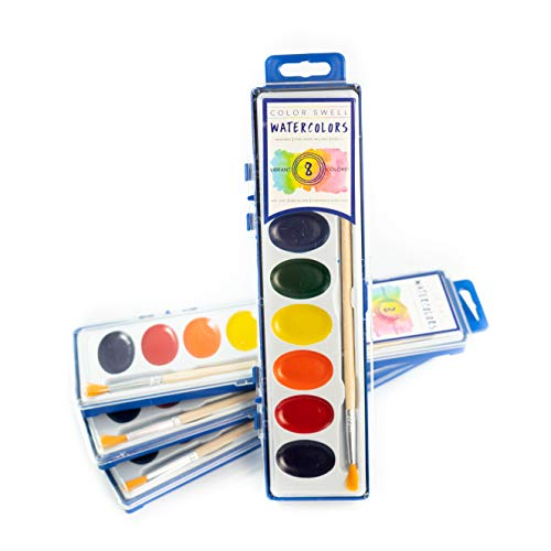 Color Swell 4 Pack Watercolor Paints with Wood Brushes 8 Colors Washable Watecolors are Perfect for Kids, Adults, Parties, and Classrooms