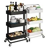 Heqianqian Carrito de almacenamiento de cocina de 3 capas de almacenamiento extraíble de malla para carrito organizador de cocina o baño (tamaño: 42 x 34 x 87 cm, color: blanco)