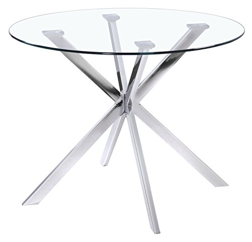 Uptown Club Franz Collection State-of-the-art Designed Round Glass Top Dining Table, 41.3' L x 41.3' W x 29.5' H