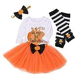 Lazzboy Neugeborenes Baby Strampler Bow Tutu Rock Beinwrmer Halloween Kostm Outfits Set Kostme Fasching Karneval Fastnacht(Wei,Hhe:70)