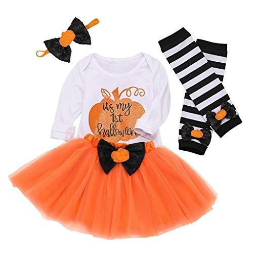 Lazzboy Neugeborenes Baby Strampler Bow Tutu Rock Beinwärmer Halloween Kostüm Outfits Set Kostüme Fasching Karneval Fastnacht(Weiß,Höhe:90)