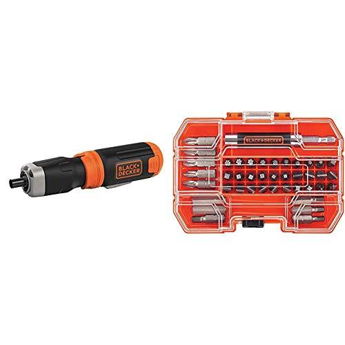 BLACK+DECKER Cordless Screwdriver, Alkaline with Screwdriver Bit Set, 42-Piece (BCF601AA & BDA42SD)