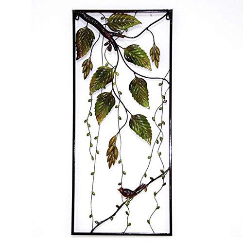 Gymqian Ilustraciones Pared Del Metal Del Arte de la Pared - Aves Descansando Debajo de la Hoja Verde Rama Escultura Colgante con el Capítulo para Interior Y Exterior Jardín Decorac