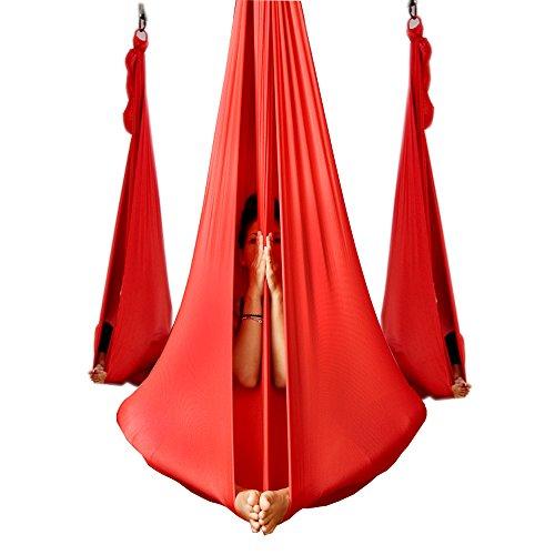 Wellsem Deluxe 5m Aerea Yoga Hammock del Tessuto di Seta Pilates Volare Yoga Altalena per Yoga Bodybuilding (5mx2.8m) Rosso