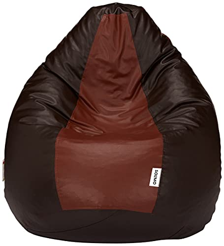 Amazon Brand - Solimo XXL Bean Bag Filled With Beans (Brown and Tan)