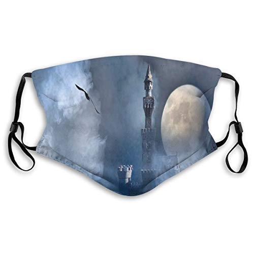 Multifunctional Summer Scarf, Bandana, Mouth Cover for Women, Castle On Clouds at Moon Night Scary Gothic Fiction Medieval Mythology Evil Graphic, Elastic, Dust- and Smog-proof washable, transpirable