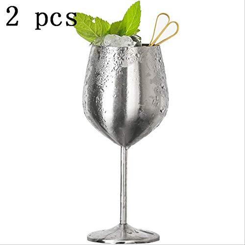 FZGZSW Copa De Vino TintoAcero Inoxidable 304 Copa de Vino Tinto Plata Copas de Oro Rosa Bebida de Jugo Copa de champán Barware Party Utensilios de Cocina 500 mlPlata 2 Piezas