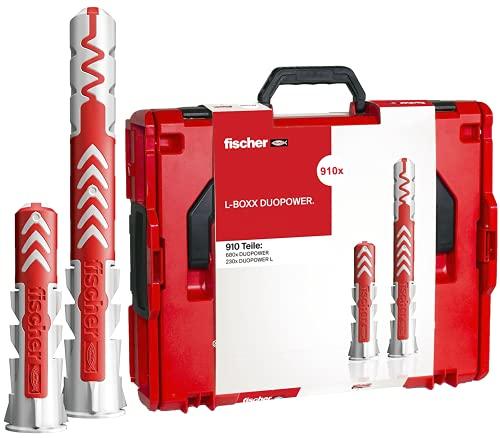 fischer - DuoPower L-Boxx Sortimentskasten DuoPower Dübel für Gipskarton, Ziegel und Beton, Durchmesser 6, 8, 10, schlagfeste und stapelbare Box, 910 Stück
