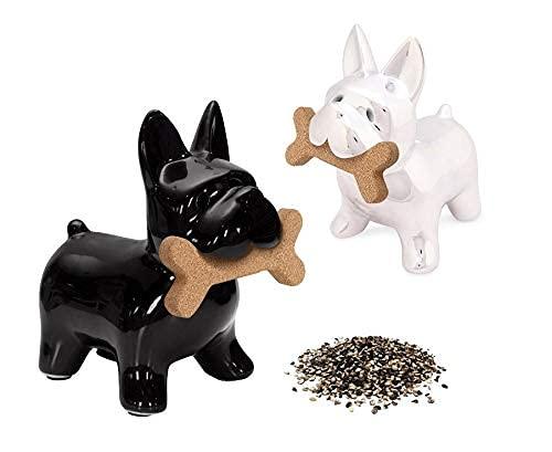 Fisura | Saleros y Pimenteros Originales de Cerámica. Conjunto de 2 Piezas. Diseños de Animales. (Perro)
