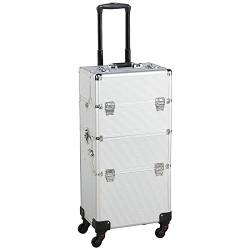 Yaheetech 3 in 1 Professional Aluminum Rolling Makeup Trolley Artist Train Case Cosmetic Organizer Makeup Case 4 Removable Spinner Wheels Silver