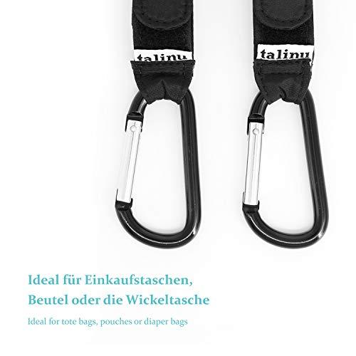 TALINU Ganci per passeggino - Ganci a carabina in alluminio - Set da 2, neri, stabili, resistenti, flessibili - Fissaggio per passeggino, ganci universali