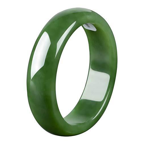 AKT Natürlicher Smaragd Jade Armreif Damen Armband Schmuck zum Liebhaber Freundin Familie, Echte Chinesische Jade Armreif,58mm