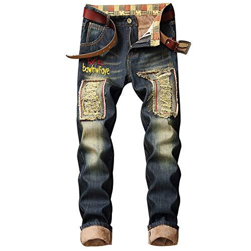 Jubaton Pantalones Vaqueros para Hombre Pantalones Rectos Delgados Retro de Moda de Estilo Europeo y Americano, Pantalones Vaqueros de Costura de Parche Rasgados con Personalidad de Invierno 40