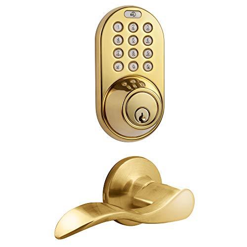 MiLocks TFL-02P Digital Deadbolt Door Lock and Passage Lever Handle Combo with Keyless Entry via Keypad Code for Exterior Doors, Polished Brass