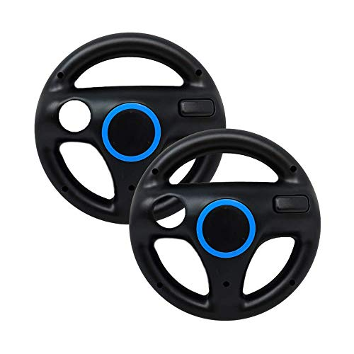Mario Kart Wii Steering Wheels, PlayHard 2 Pack Mario Kart Wii Racing Wheels Compatible with Nintendo Wii, Wii U Racing Games (Black X 2)
