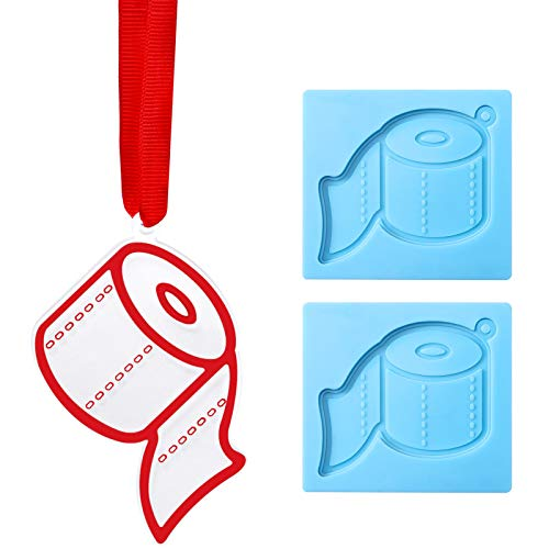 2 Pieces Toilet Paper Silicone Mold with Red Ribbon Christmas, Keychain Ornament Mold Chocolate Candy Mold for Xmas Tree Desserts Topper Decoration