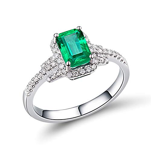 AtHomeShop Mujer oro blanco 18 quilates (750) esmeralda verde Emerald