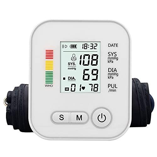 XXGJK Tensiómetro de Brazo Digital, Tensiometro de Brazo Automatico LCD Detección de Frecuencia Cardíaca Irregular Tamaño Ligero Portátil para Padres Abuelos