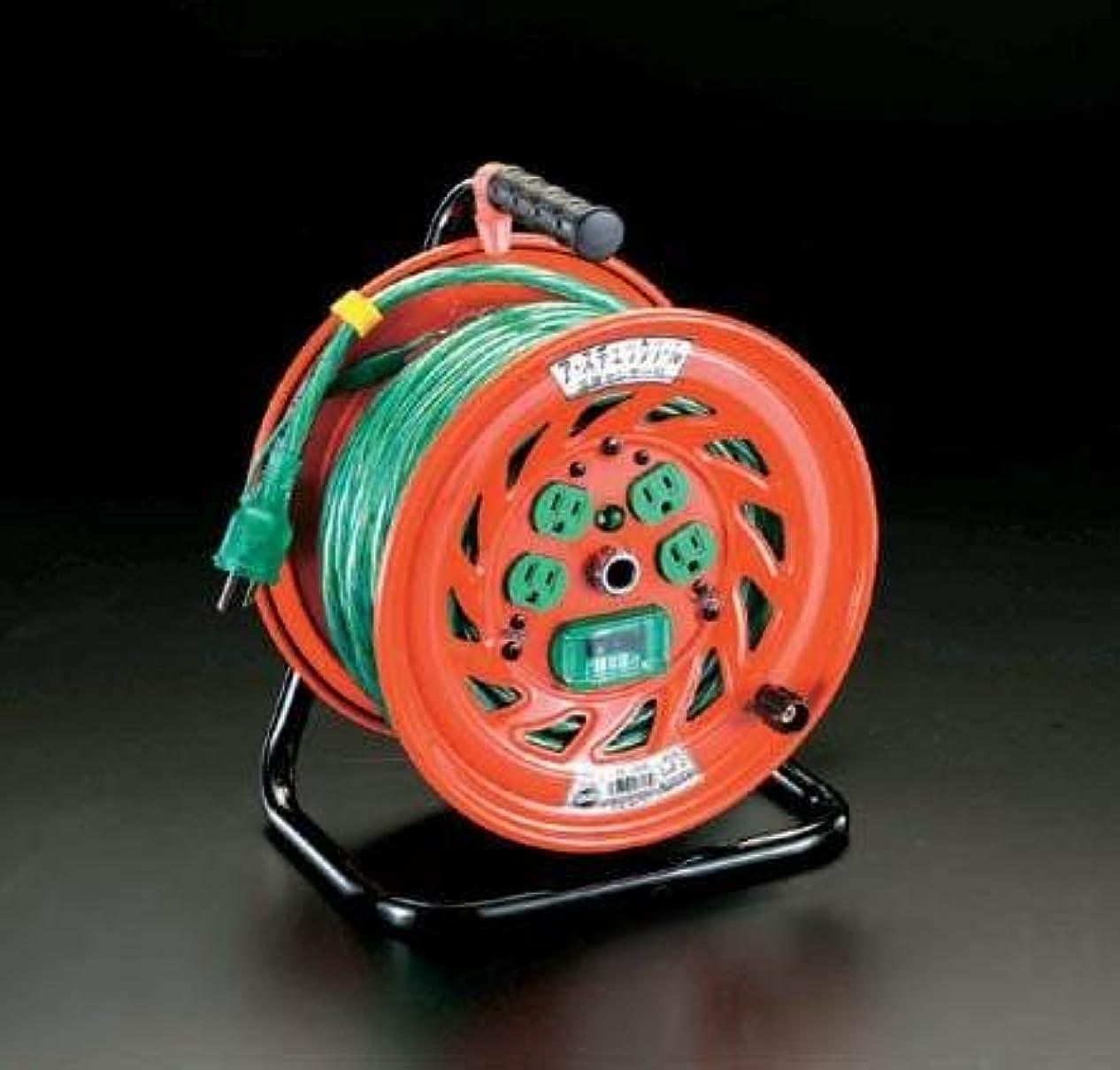 筋世界に死んだ展開するエスコ AC100V/15A/30mコードリール(漏電遮断機付) EA815DF-1