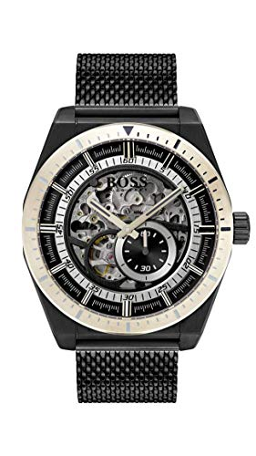 Hugo Boss Herren Skeleton Automatik Uhr mit Edelstahl Armband 1513655