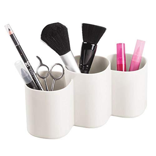 mDesign Práctico organizador de cosméticos – Elegante organizador de maquillaje para pinceles y máscaras de pestañas – Recipiente con 3 compartimentos para guardar maquillaje – rosa claro