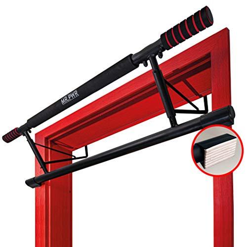 riijk Klimmzugstange Türrahmen ohne Schrauben | Reckstange mit Türrahmenschutz aus Spezialgummi | Pull Up Bar | Klimmzugstange für die Türe statt an der Wand
