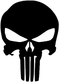 The Punisher Skull Vinyl Sticker Decal (5''x4'', Black) (Original Version)