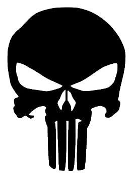 The Punisher Skull Vinyl Sticker Decal  5  x4   Black   Original Version