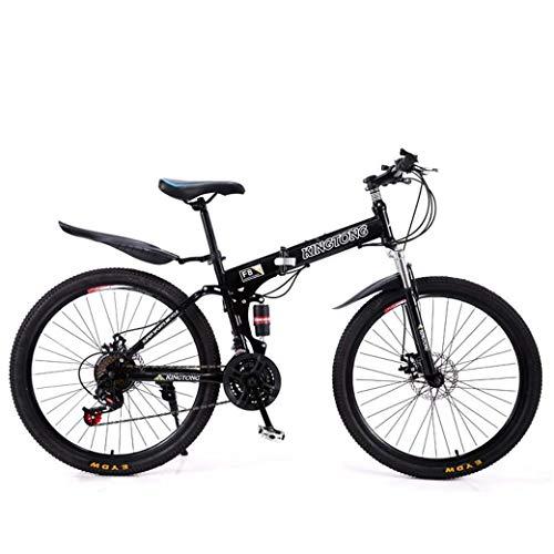 KEKEYANG Outdoor Outdoor Sports Mountain Bike Folding Bikes, 24Speed Double Disc Brake Full Suspension Antislip, Lightweight Aluminum Frame, Suspension Fork, Multiple Colors24 Inch/26 Inch Bike