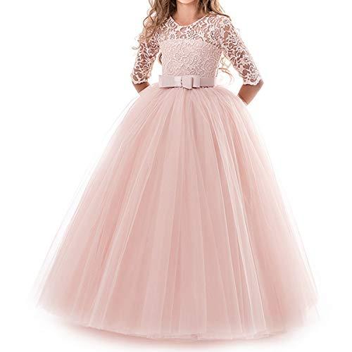 NNJXD Chicas Pompa Bordado Vestido de Bola Princesa Boda Vestir Talla(160) 11-12 años 378 Rosa-A